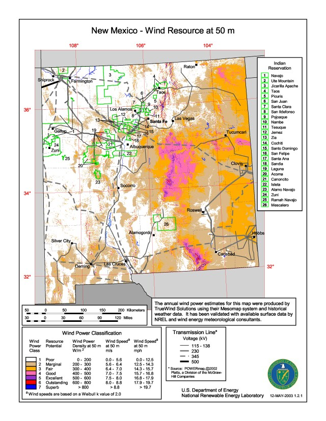New Mexico Wind Resources Map Image