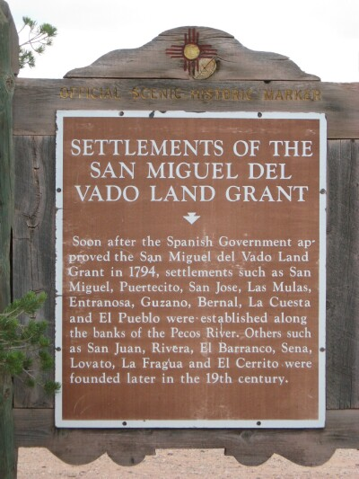 Settlements of the San Miguel del Vado Land Grant